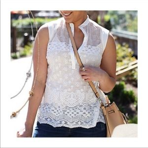 CAbi Prudence Sheer Floral Lace Sleeveless Top